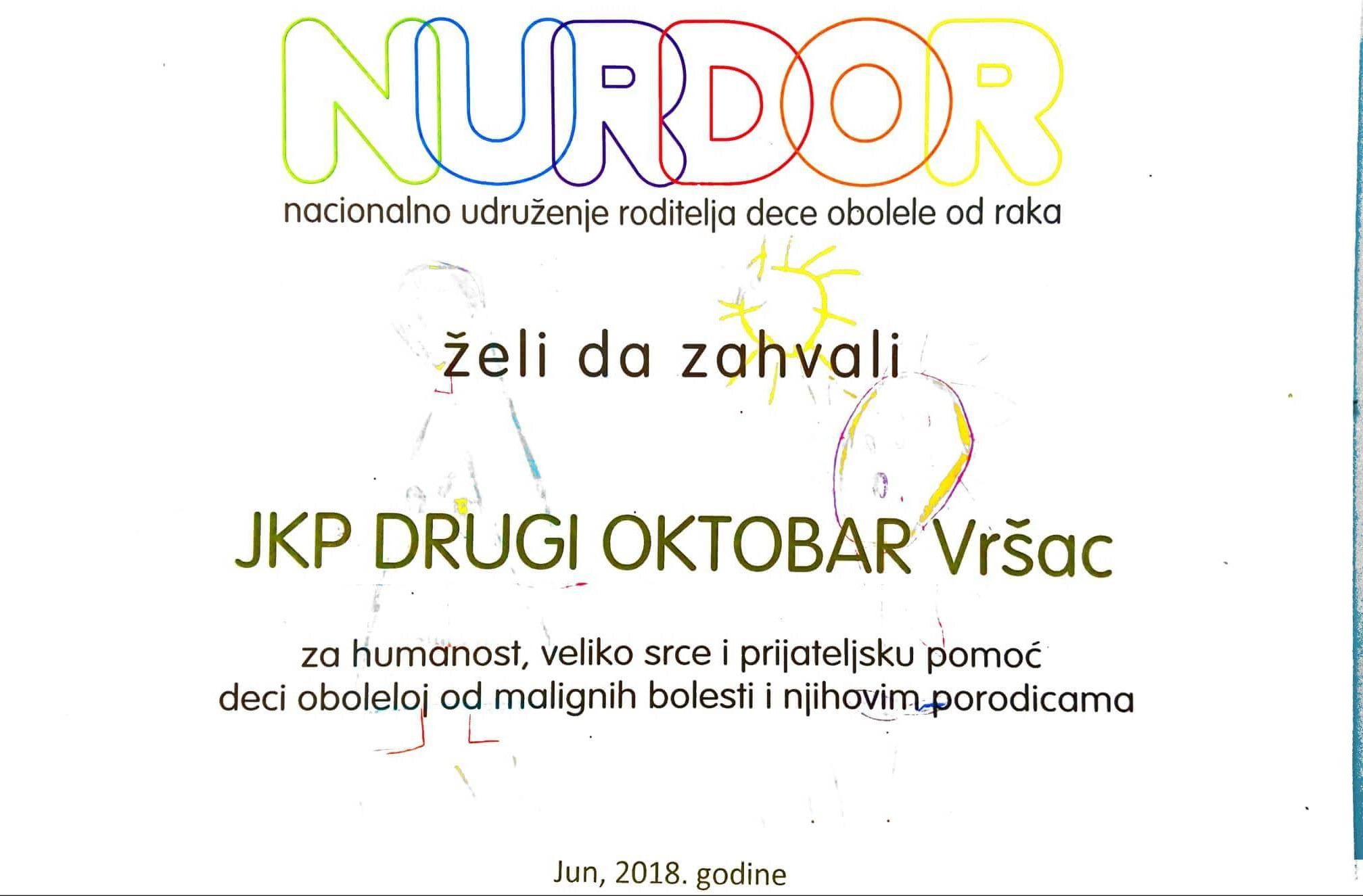 Захвалница ЈКП Субнор